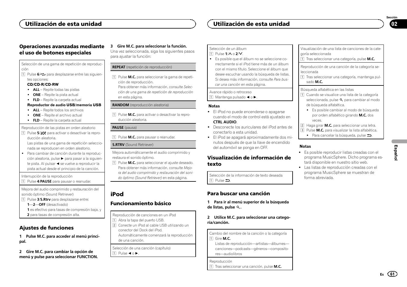 Ipod, Utilización de esta unidad   Pioneer DEH-3400UB User Manual   Page 61