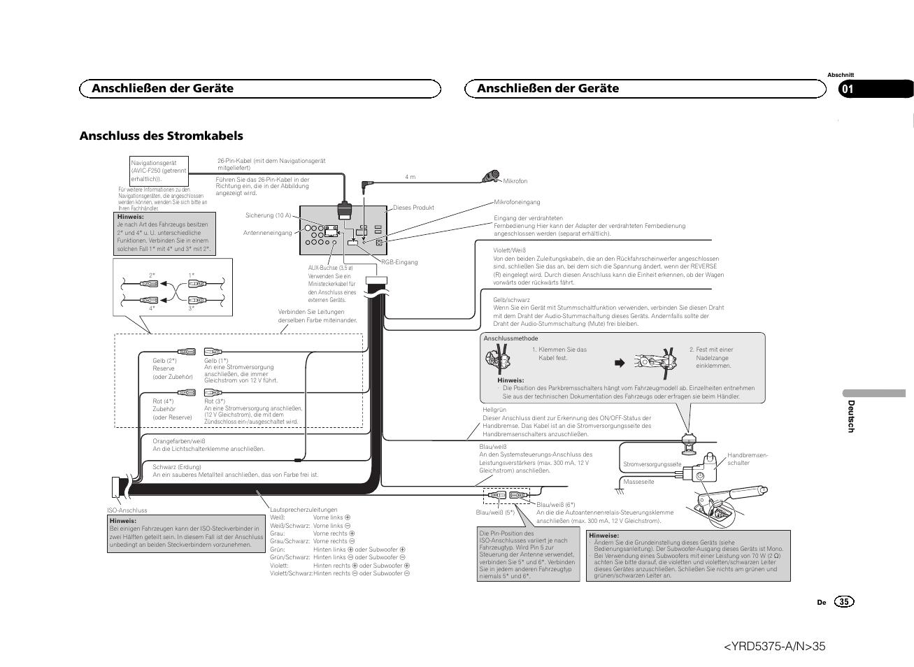 Anschluss des stromkabels, Anschließen der geräte | Pioneer AVH ...
