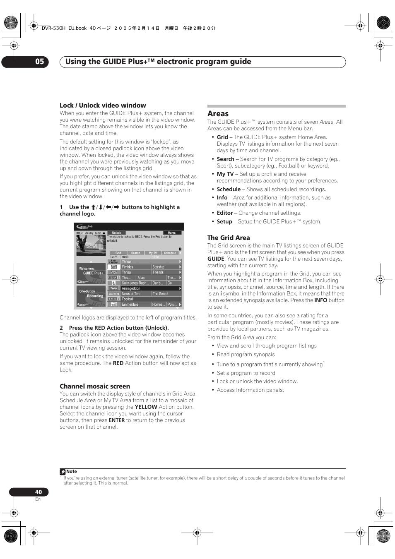 areas using the guide plus electronic program guide 05 pioneer rh manualsdir com pioneer dvr 530h manual Dish ViP722 DVR Manual