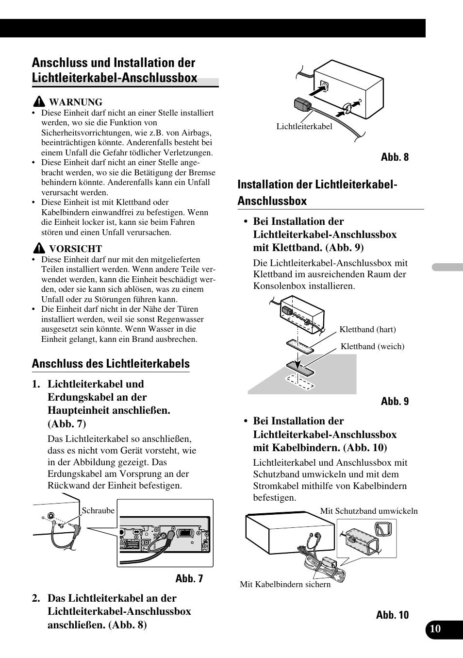 Anschluss Und Installation Der Lichtleiterkabel Anschlussbox Pioneer Avh P5700dvd Manual Des Lichtleiterkabels User Page 39 86