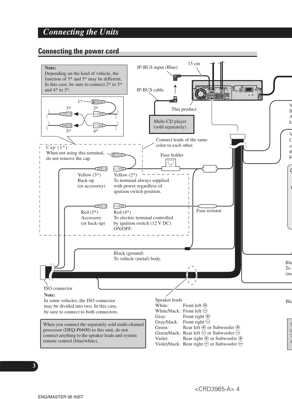 Connecting The Power Cord Units Pioneer Avh P5700dvd Installation Manual User Page 4 86