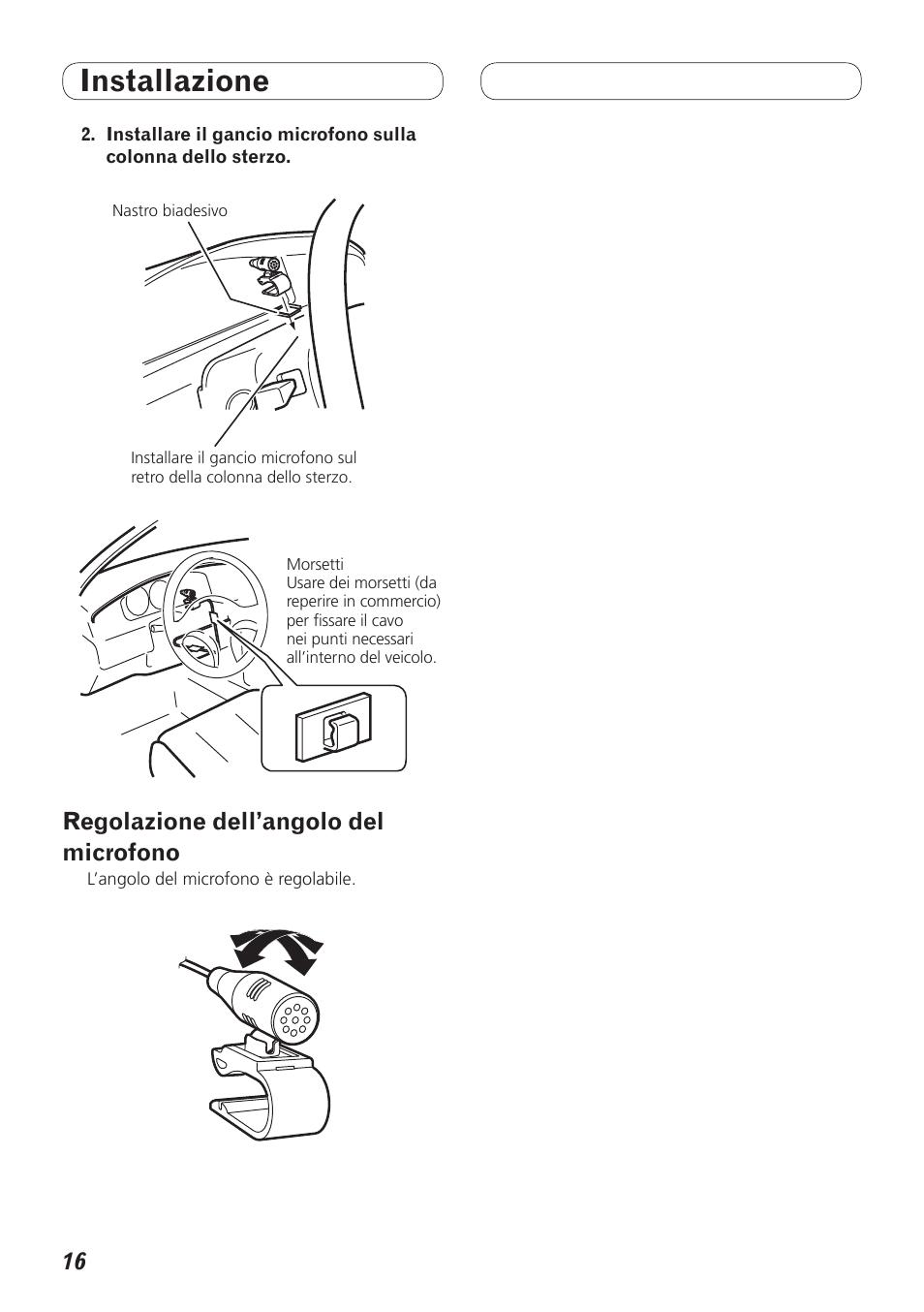 Wiring Diagram For Pioneer Avh P4200dvd Library Regolazione Dellangolo Del Microfono Installazione User Manual