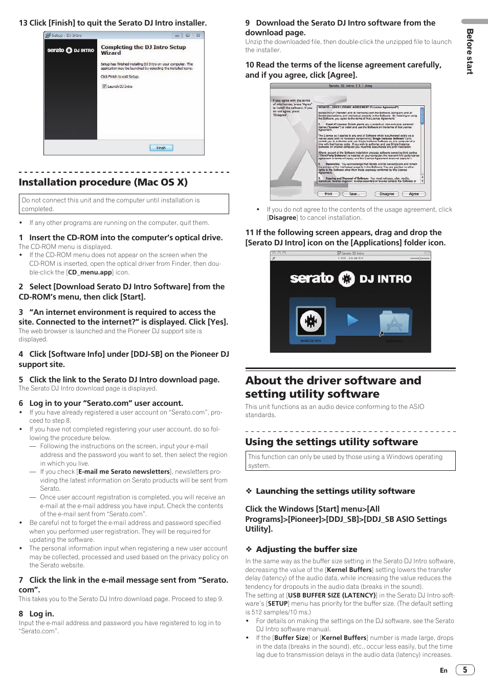 Installation procedure (mac os x), Using the settings