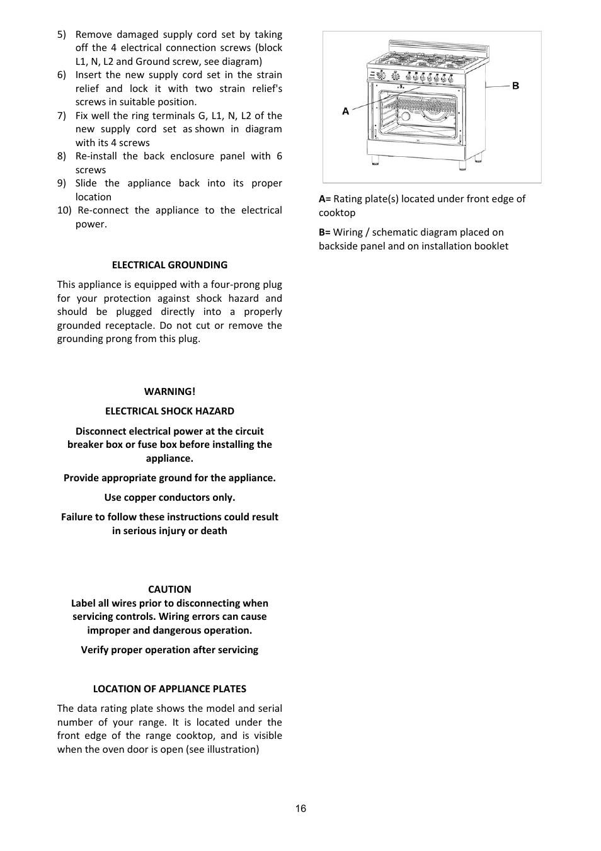 Bertazzoni A User Manual Page 16 52 Fuse Box Grounding