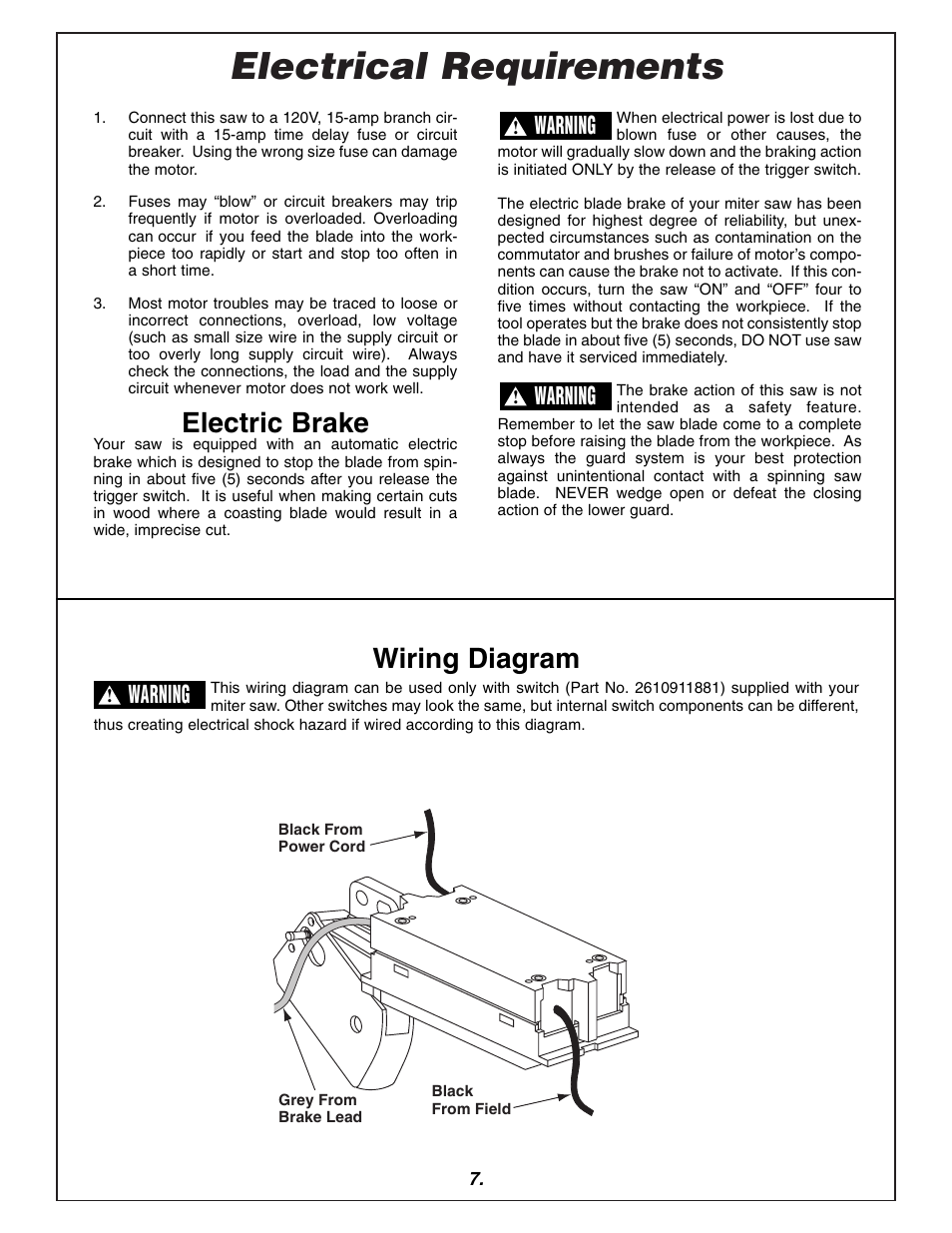 7 Lead Motor Wiring Electrical Requirements Electric Brake Diagram Bosch 3915 User Manual Page 104