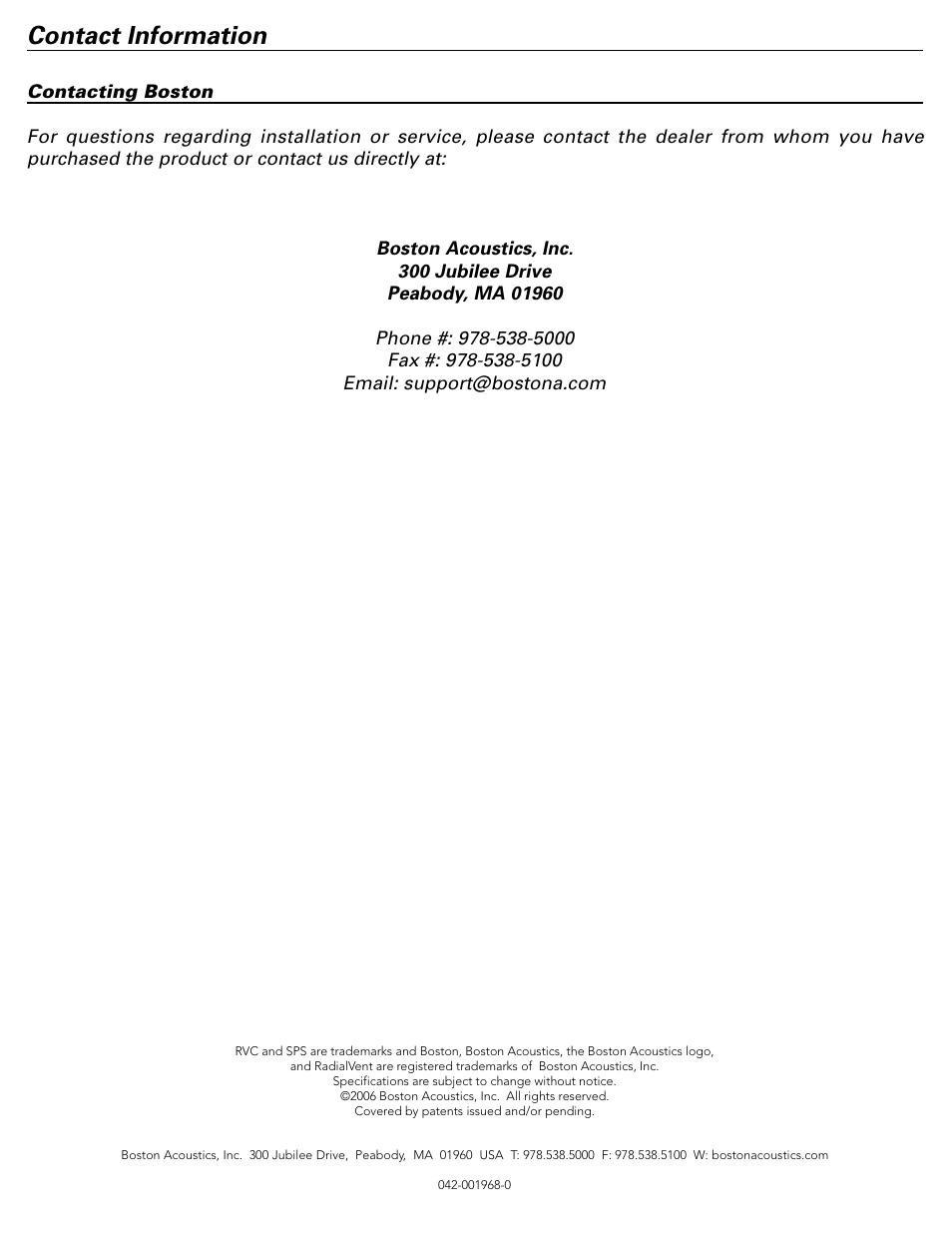 contact information boston acoustics spg555 user manual page 8 rh manualsdir com Boston Acoustics Clock Radio Boston Acoustics A150 Speakers