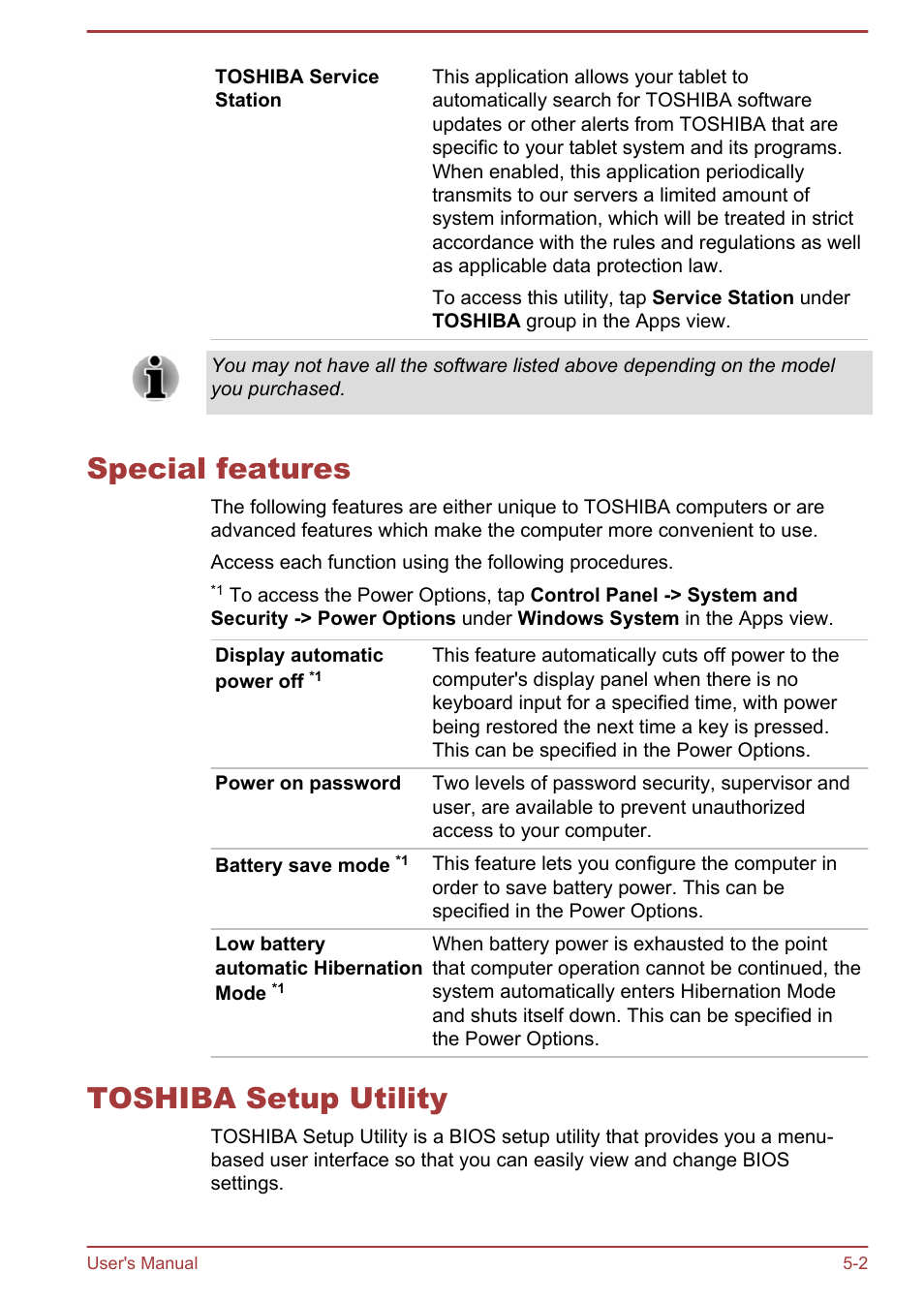 Special features, Toshiba setup utility, Special features -2