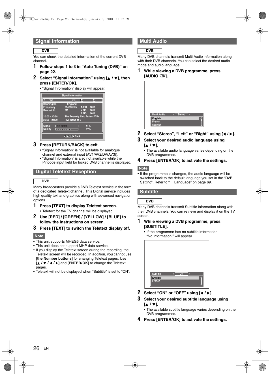 Signal information, Digital teletext reception, Multi audio   Toshiba DVR20  User Manual   Page 26 / 80