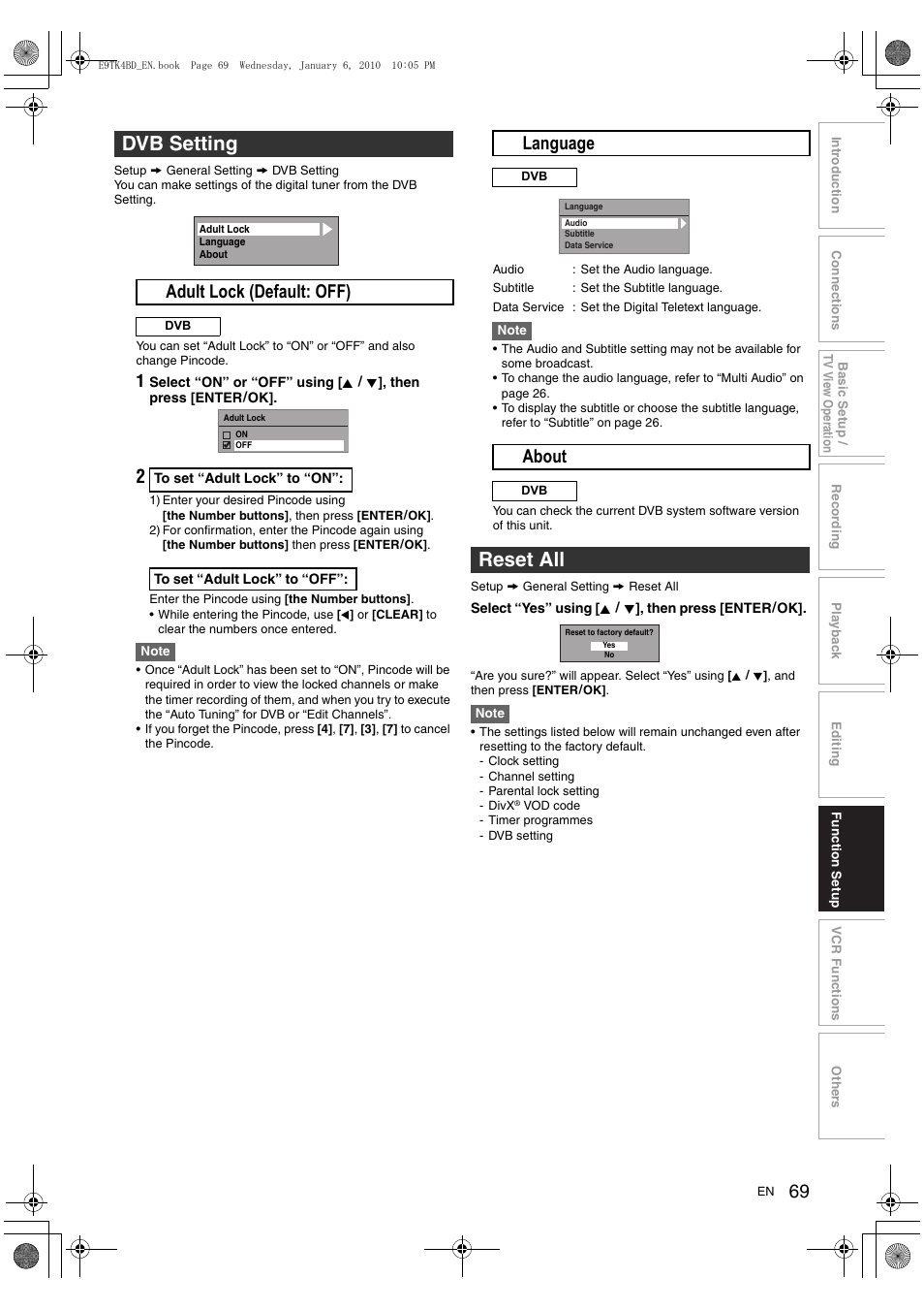 Dvb setting, Reset all, A adult lock (default: off)   Toshiba DVR20 User  Manual   Page 69 / 80