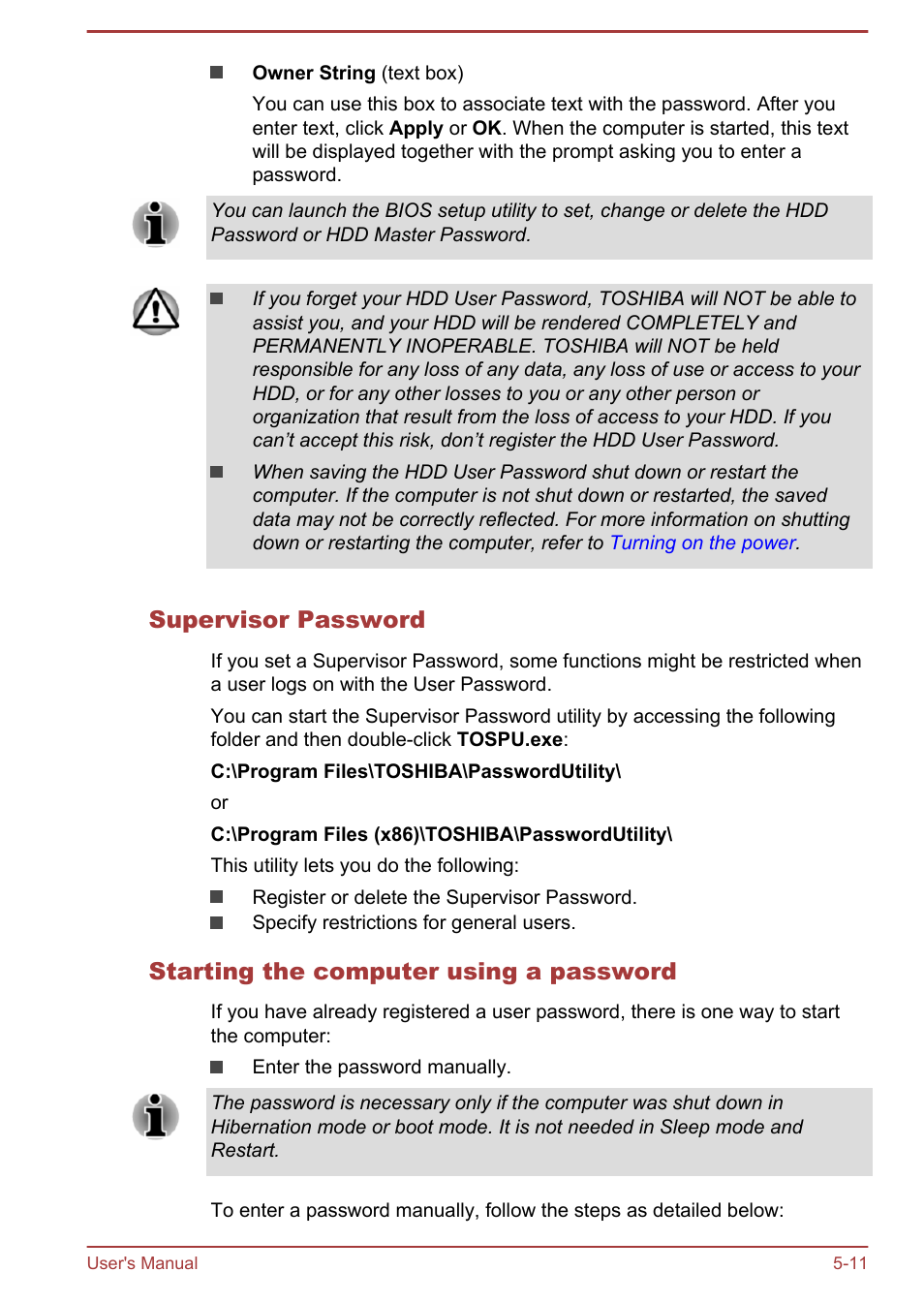 Supervisor password, Starting the computer using a password