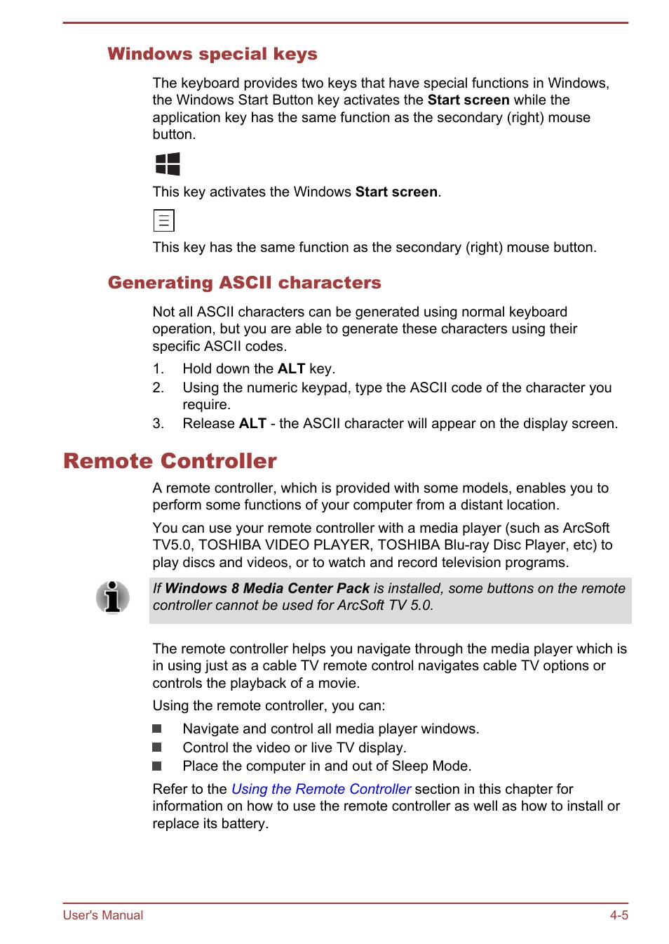 Windows special keys, Generating ascii characters, Remote