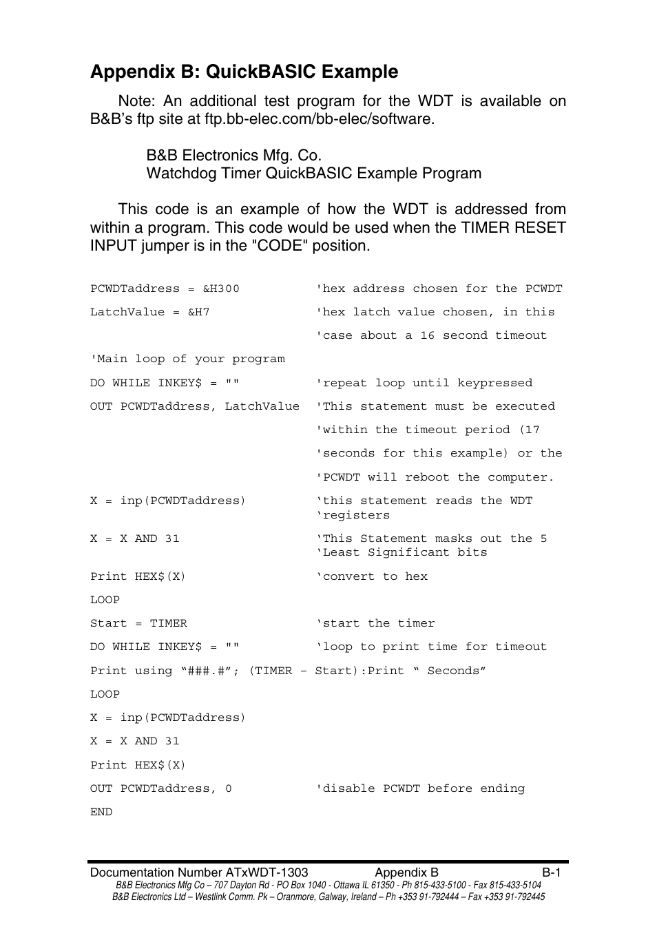 Appendix B Quickbasic Example Bb Electronics Pc Watchdog Timer Card Atrwdt User Manual Page 22 23