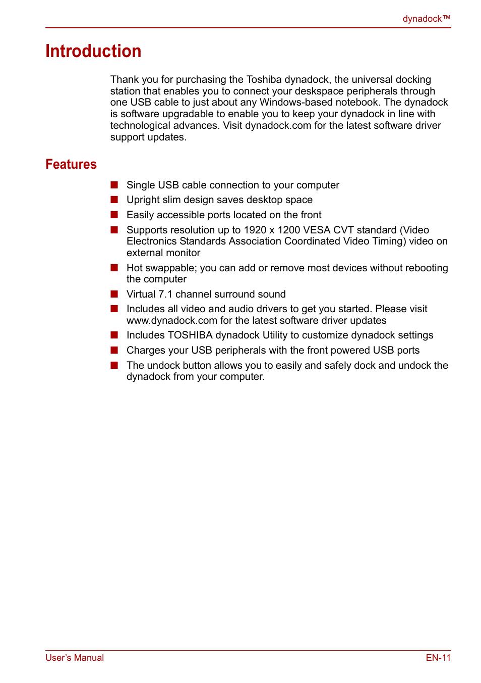 introduction features toshiba dynadock u10 user manual page 11 44 rh manualsdir com
