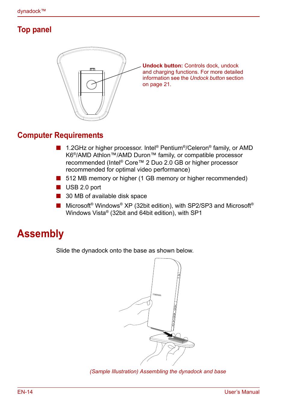 top panel computer requirements assembly toshiba dynadock u10 rh manualsdir com