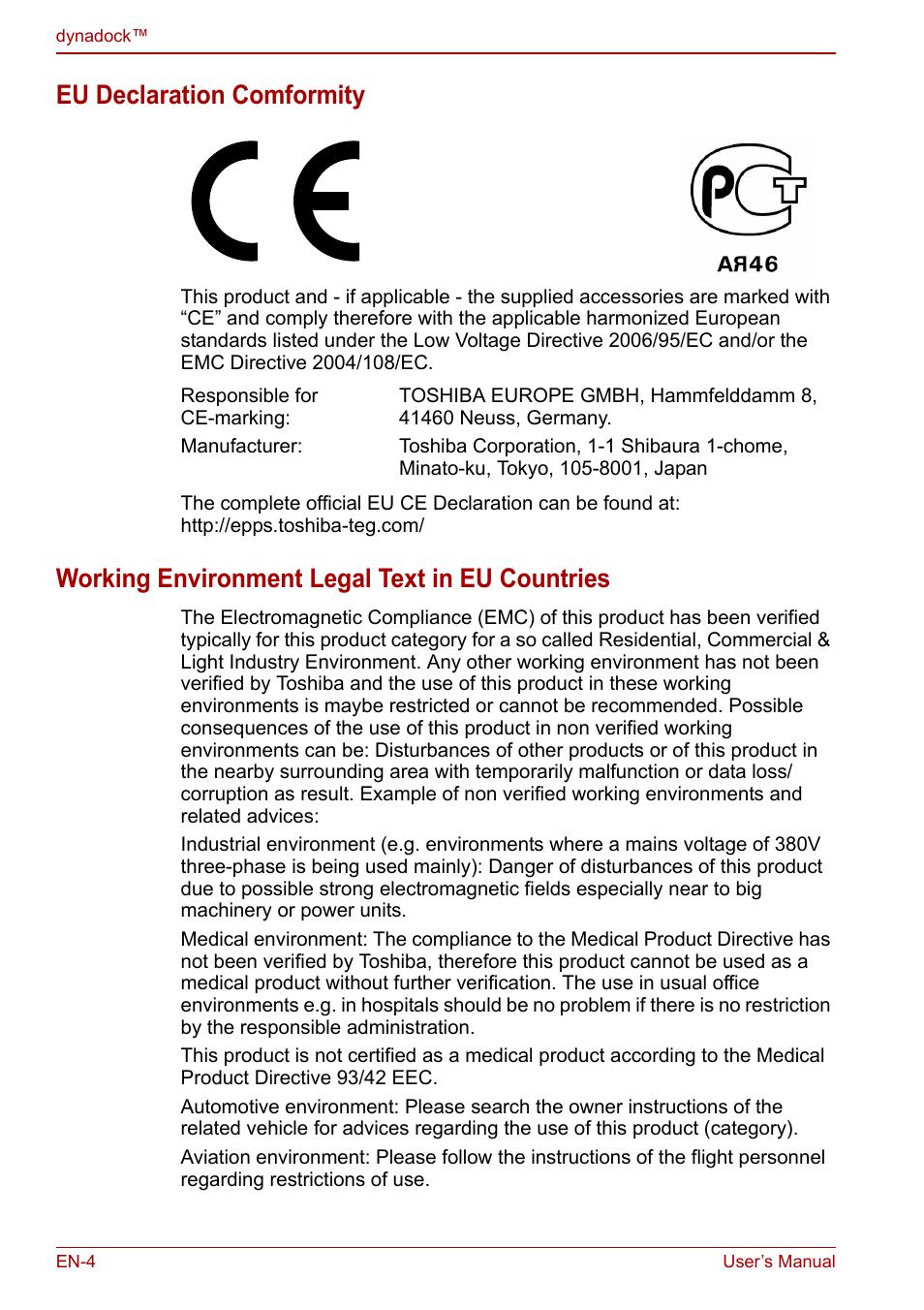 eu declaration comformity working environment legal text in eu rh manualsdir com Docking Station for Toshiba Satellite L655 toshiba dynadock u10 user manual