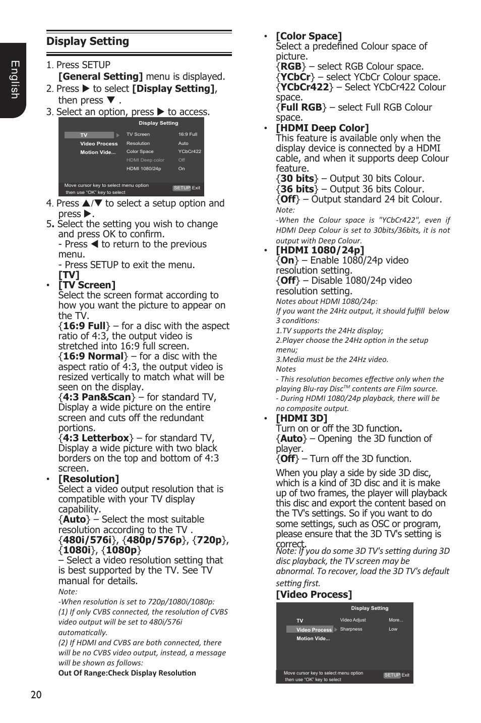 0 e ng lis h display setting | Toshiba BDX3200 User Manual