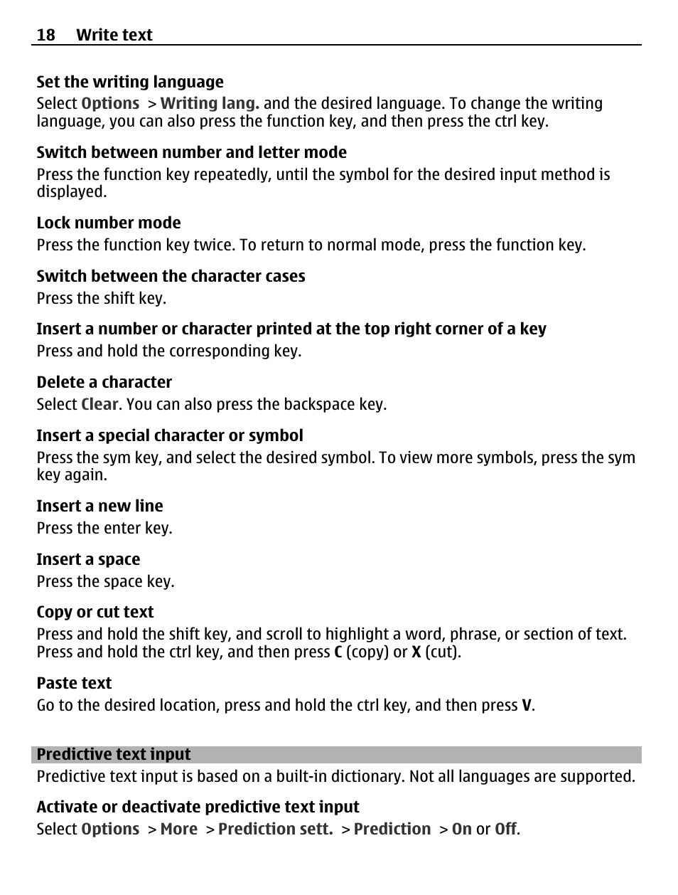 Predictive text input | Nokia X2-01 User Manual | Page 18 / 44