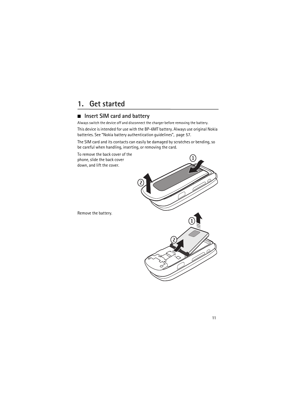 Get started, Insert sim card and battery | Nokia 6350 User Manual | Page 11  / 64