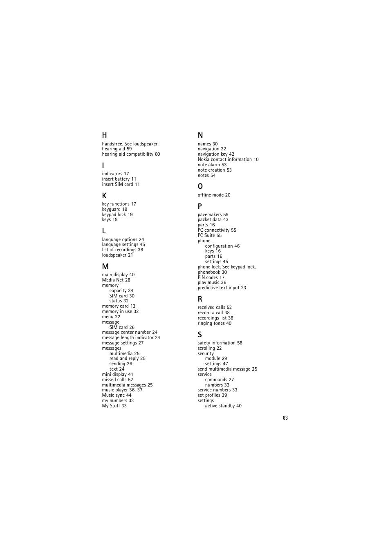 Nokia 6350 User Manual | Page 63 / 64