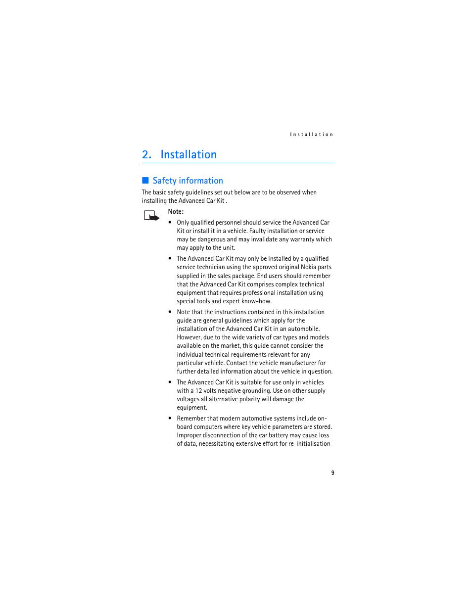 Installation Safety Information Nokia Advanced Car Kit Ck 7w User