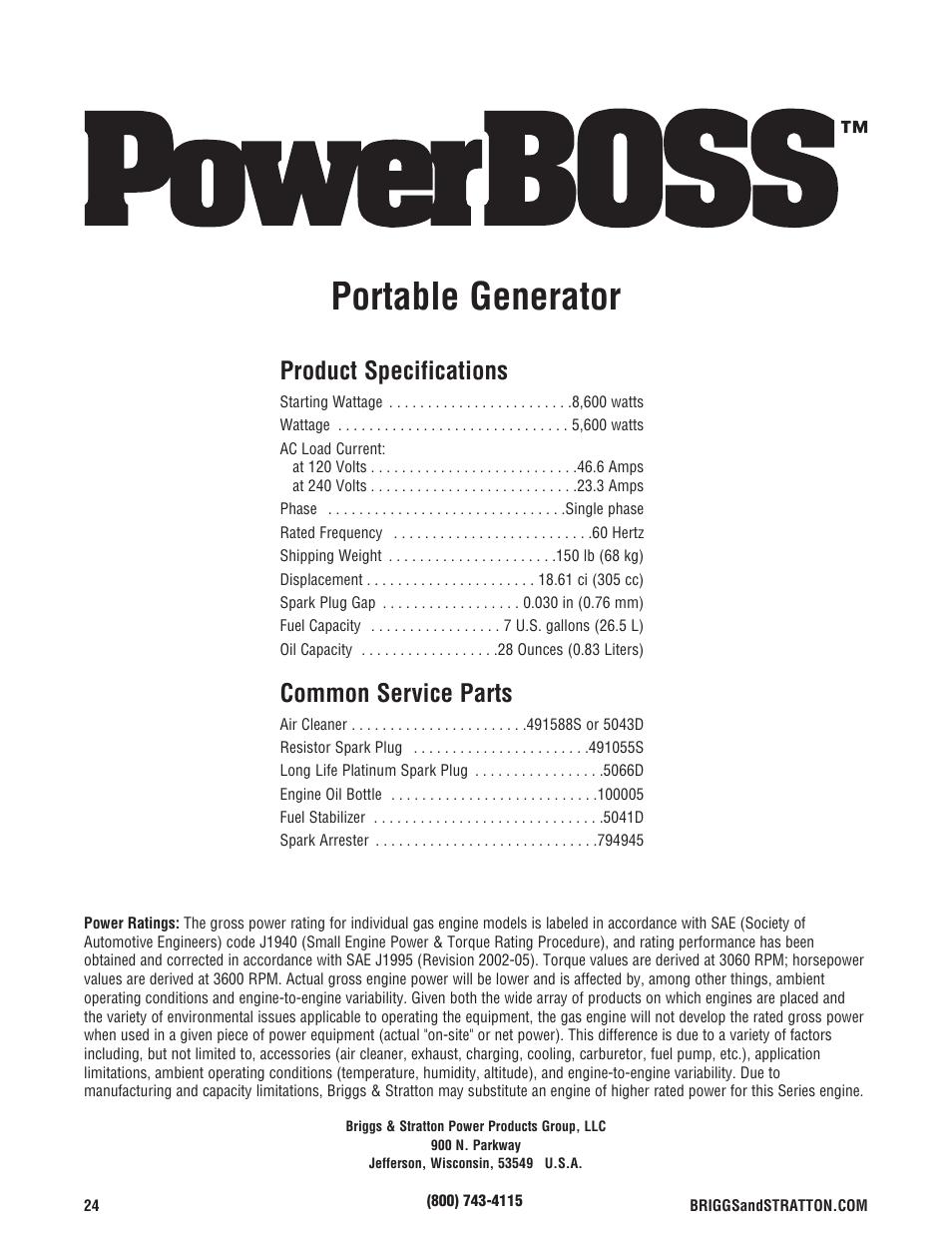 Especificaciones Del Producto Servicio Comn Briggs 26 Stratton Engine Diagram Despide Powerboss 5600 Watt User Manual Page 24 48