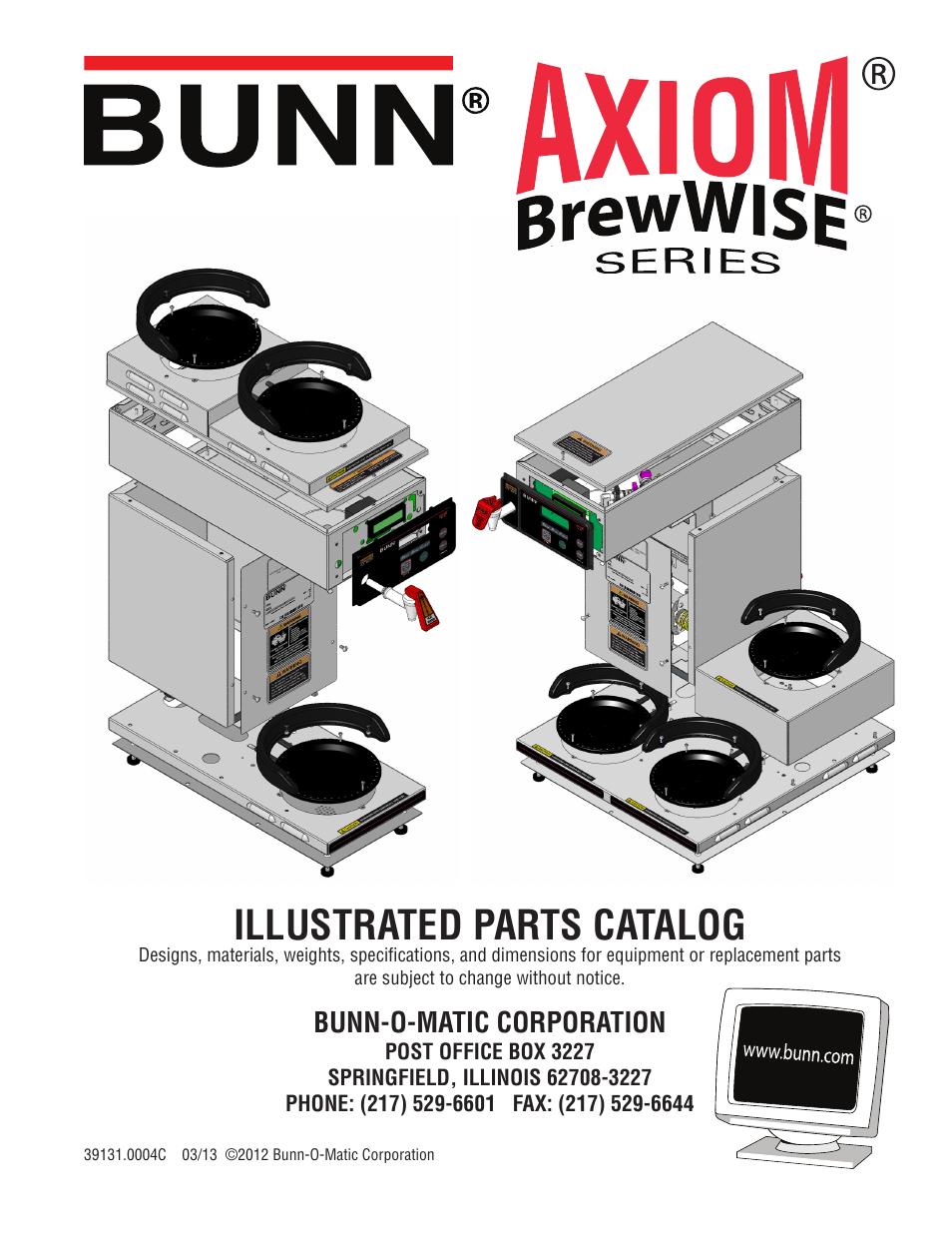 Bunn Axiom Brewwise 391310004b User Manual 19 Pages Parts Catalog Wiring Diagram