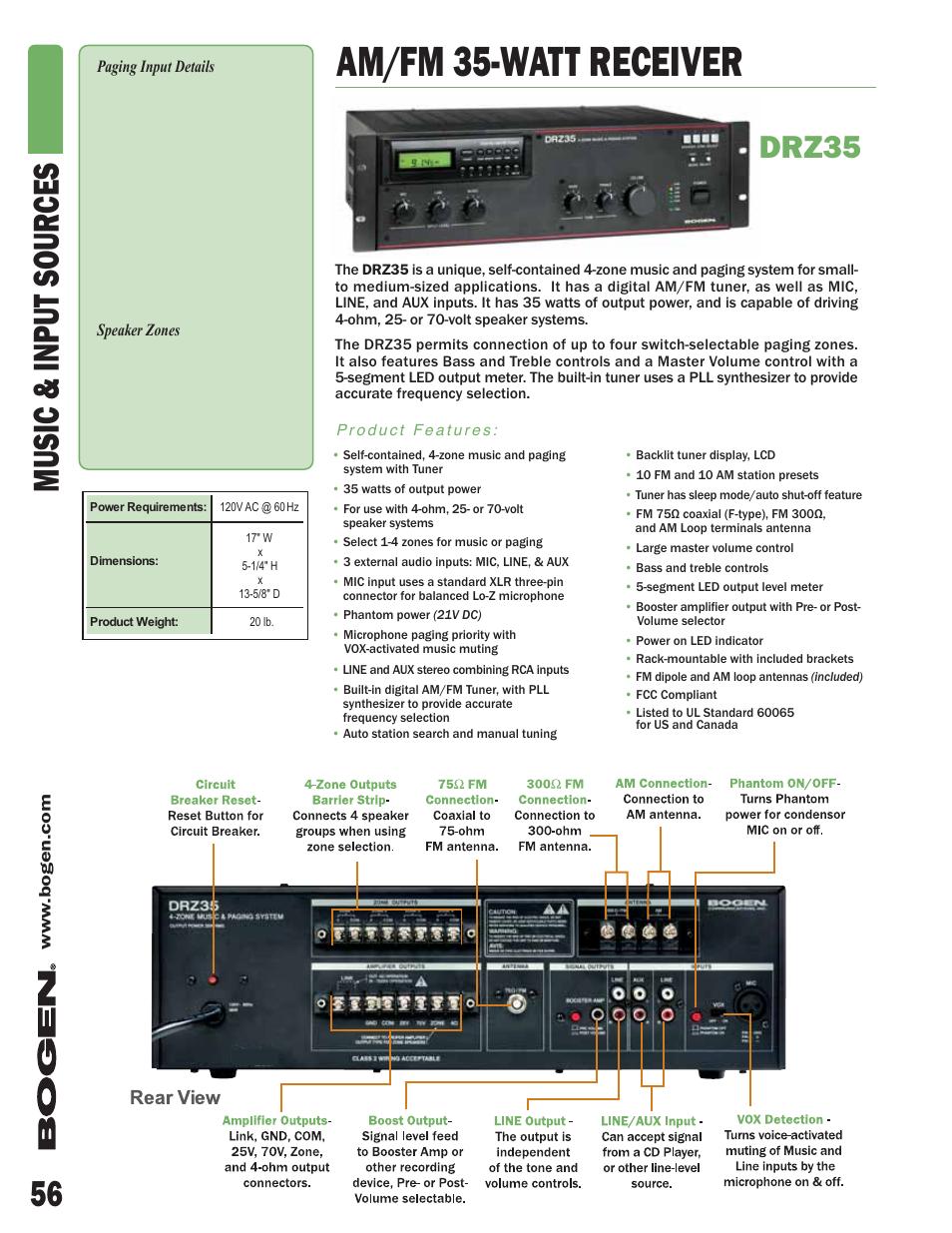 Am Fm 35 Watt Receiver 56 Music Input Sour Ces Drz35 Bogen 5 Amplifier Dcm290p User Manual Page 2 6