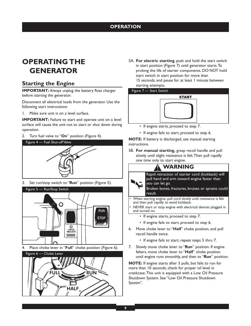 Operating the generator, Starting the engine, Warning
