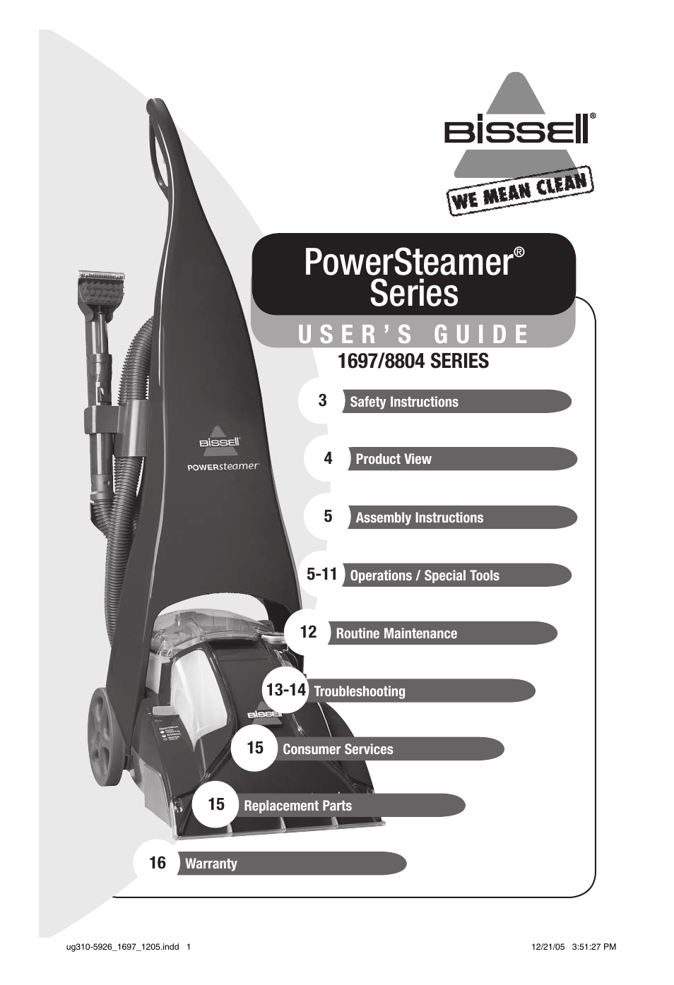 Bissell PowerSteamer 1697 series User Manual | 16 pages | Also for:  PowerSteamer 8804 series
