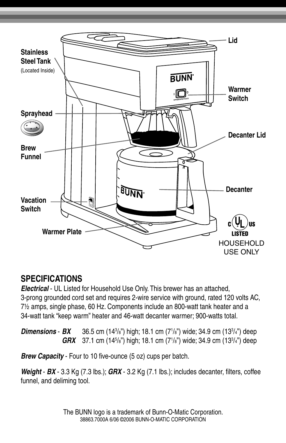 Specifications, High; 18.1 cm (7, Sprayhead brew funnel vacation switch  decanter | Bunn GRX-W EN User Manual | Page 2 / 15