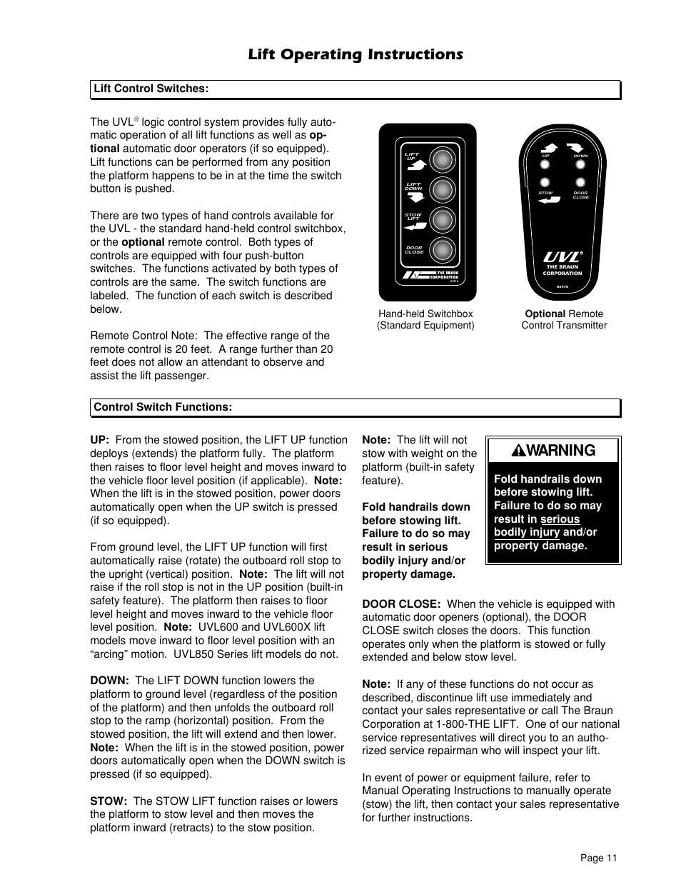 lift operating instructions warning lift control switches the uvl rh manualsdir com braun lift manual l9171b braun lift manual for l917