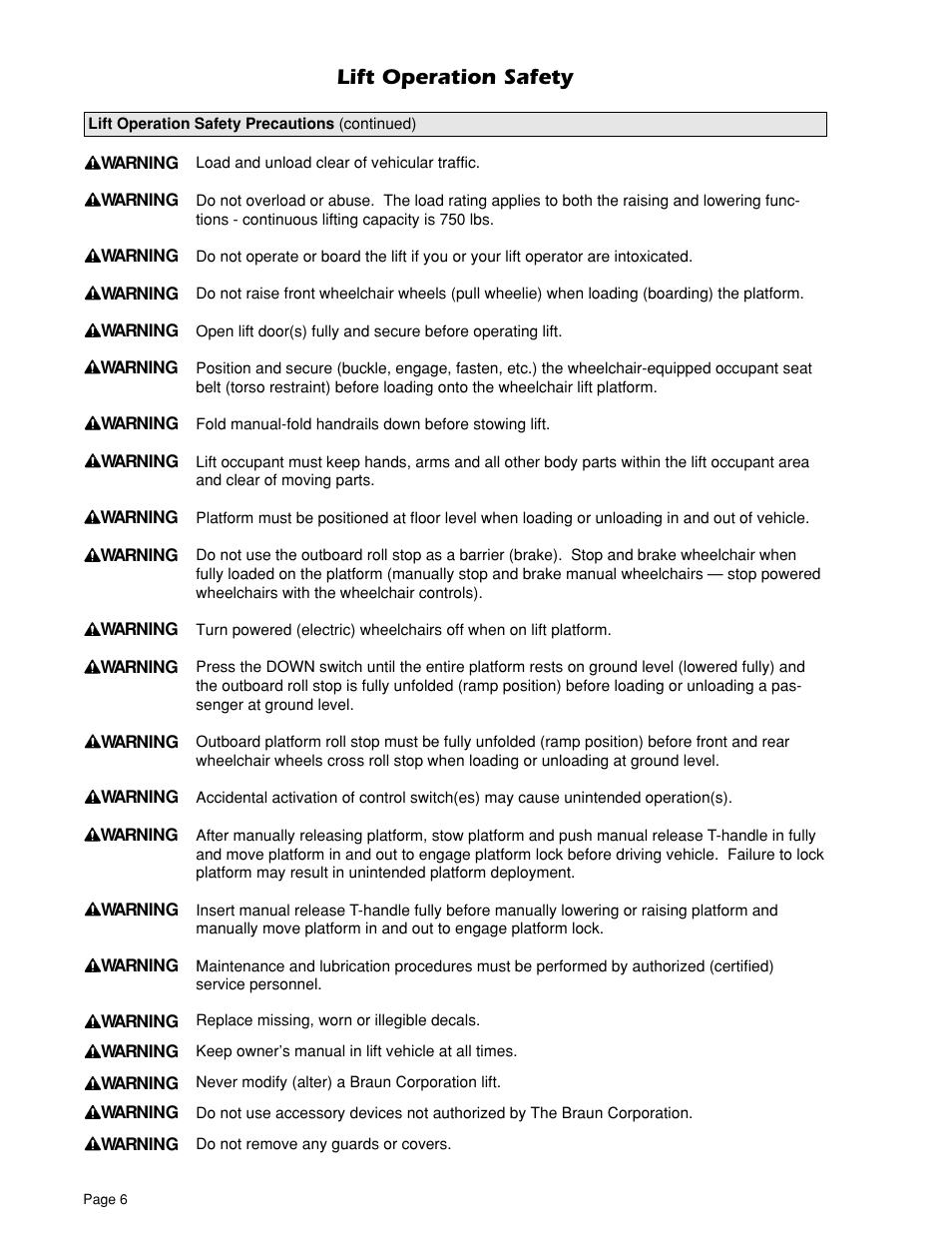 Lift Operation Safety Braun Uvl 604xb User Manual Page
