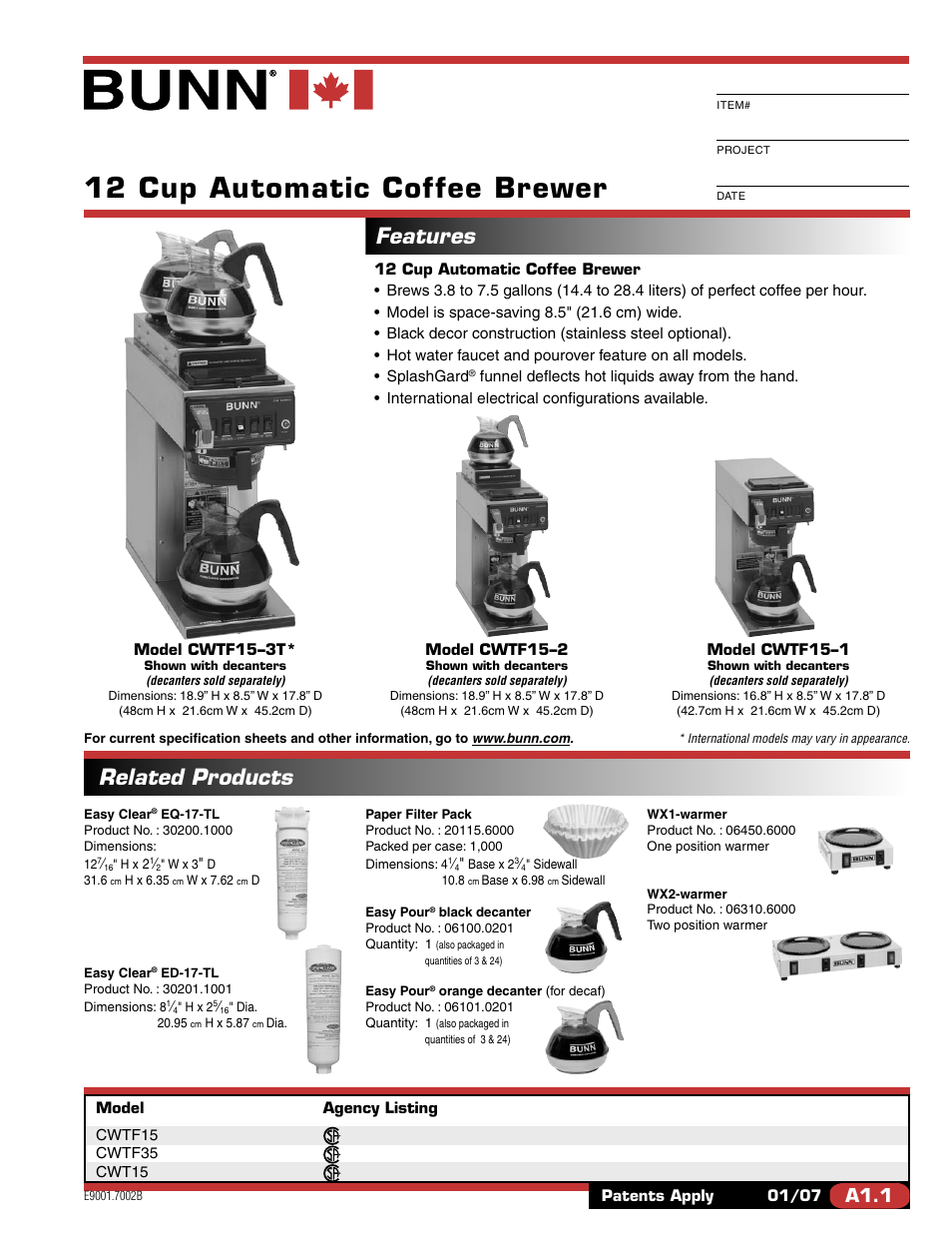 Bunn Coffee Maker User Guide : Bunn CWTF15 User Manual 2 pages Also for: CWTF35, CWT15