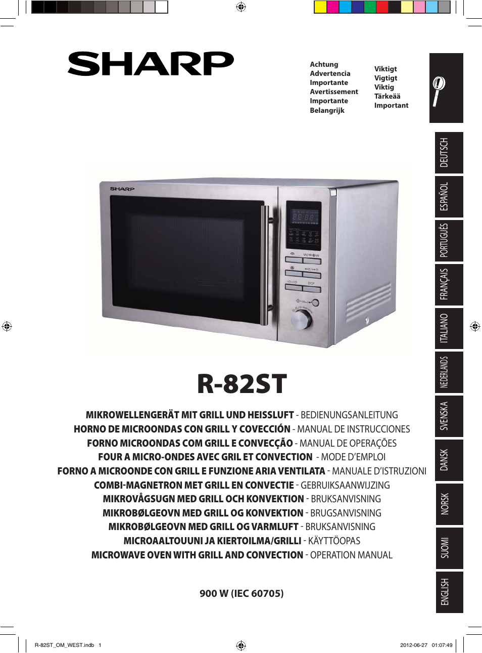 Sharp R 82stw Four à Micro Ondes Combiné User Manual 180 Pages Also For