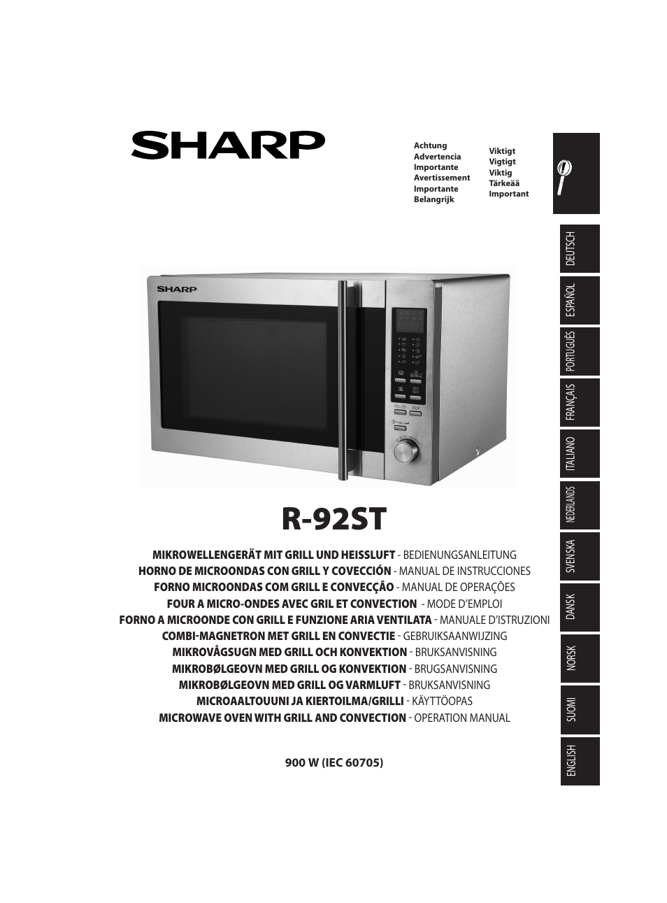 sharp r 92stw four micro ondes combin user manual 290. Black Bedroom Furniture Sets. Home Design Ideas