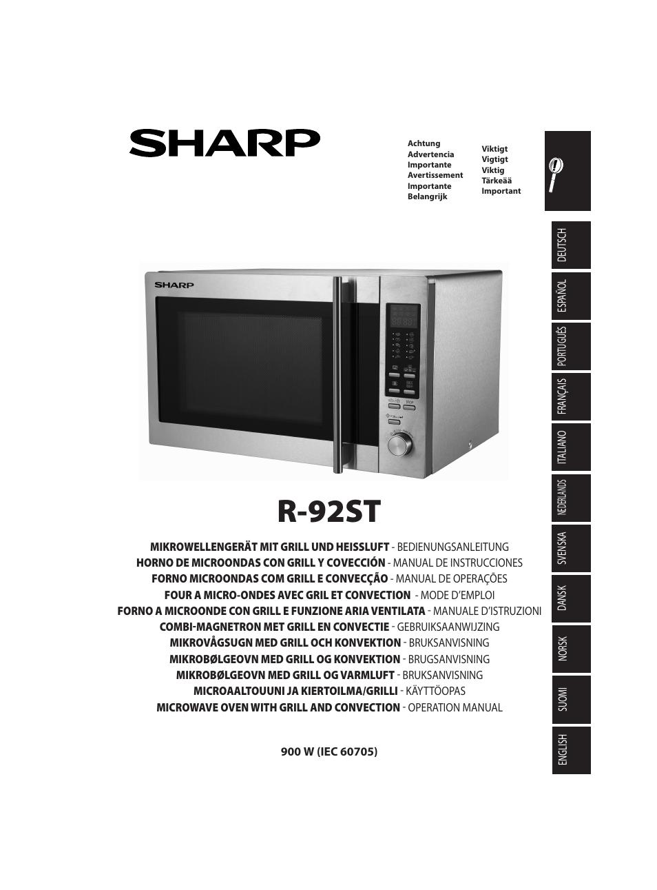 sharp r 92stw four micro ondes combin user manual 290. Black Bedroom Furniture Sets. Home Design Ideas