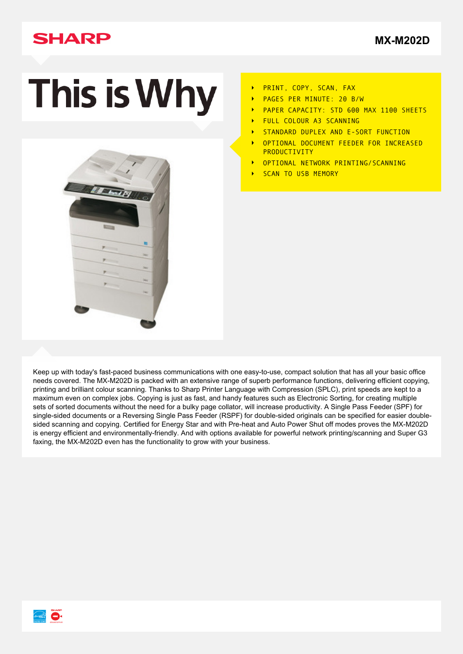 Sharp MX-M202D User Manual | 2 pages