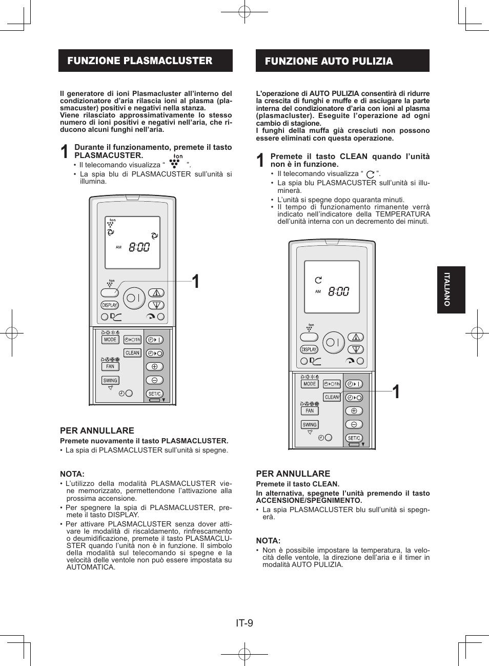 Funzione Plasmacluster Funzione Auto Pulizia Sharp Ay Xpc9jr User
