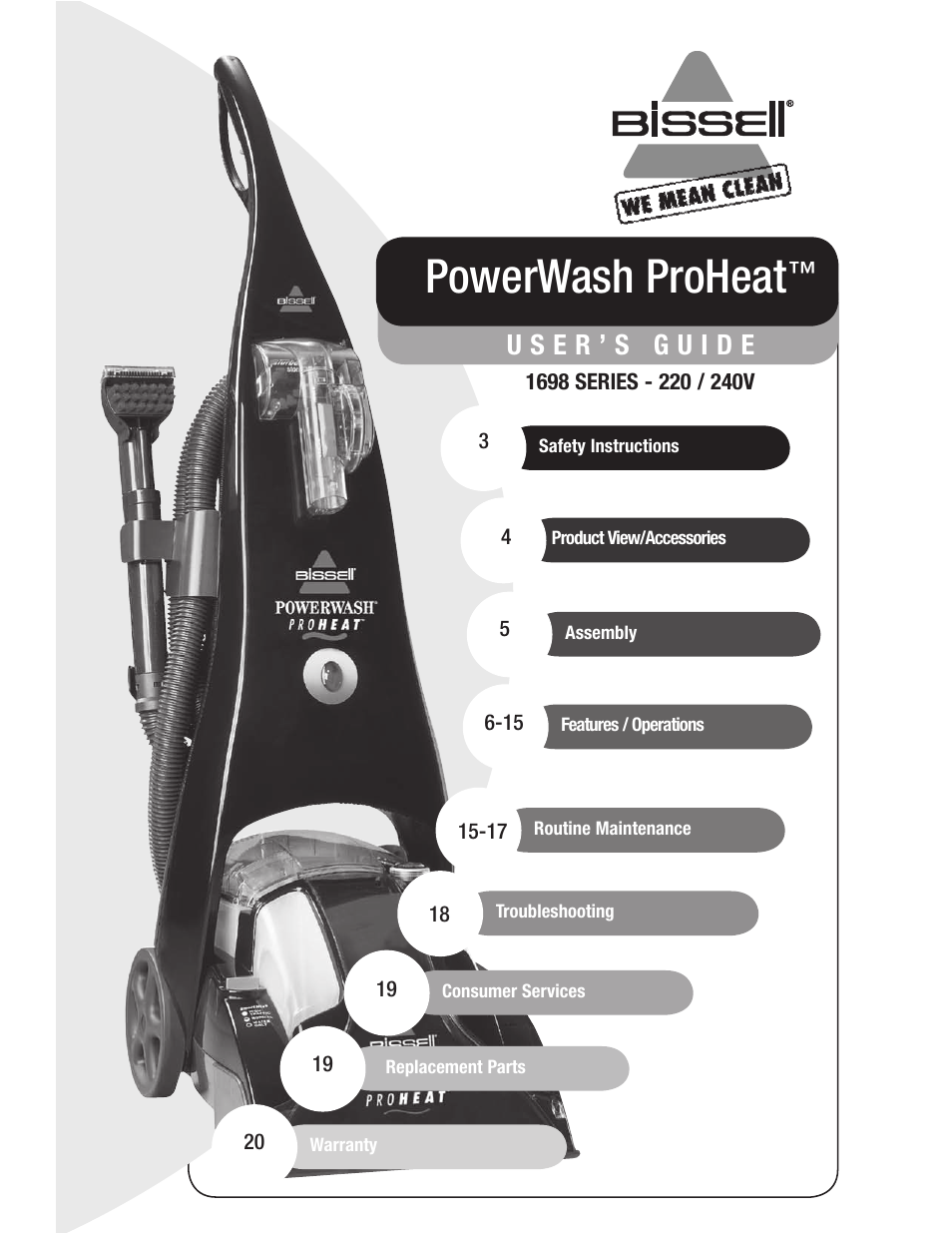 bissell 1698 user manual 20 pages rh manualsdir com Bissell PowerForce Vacuum Manual bissell product manuals