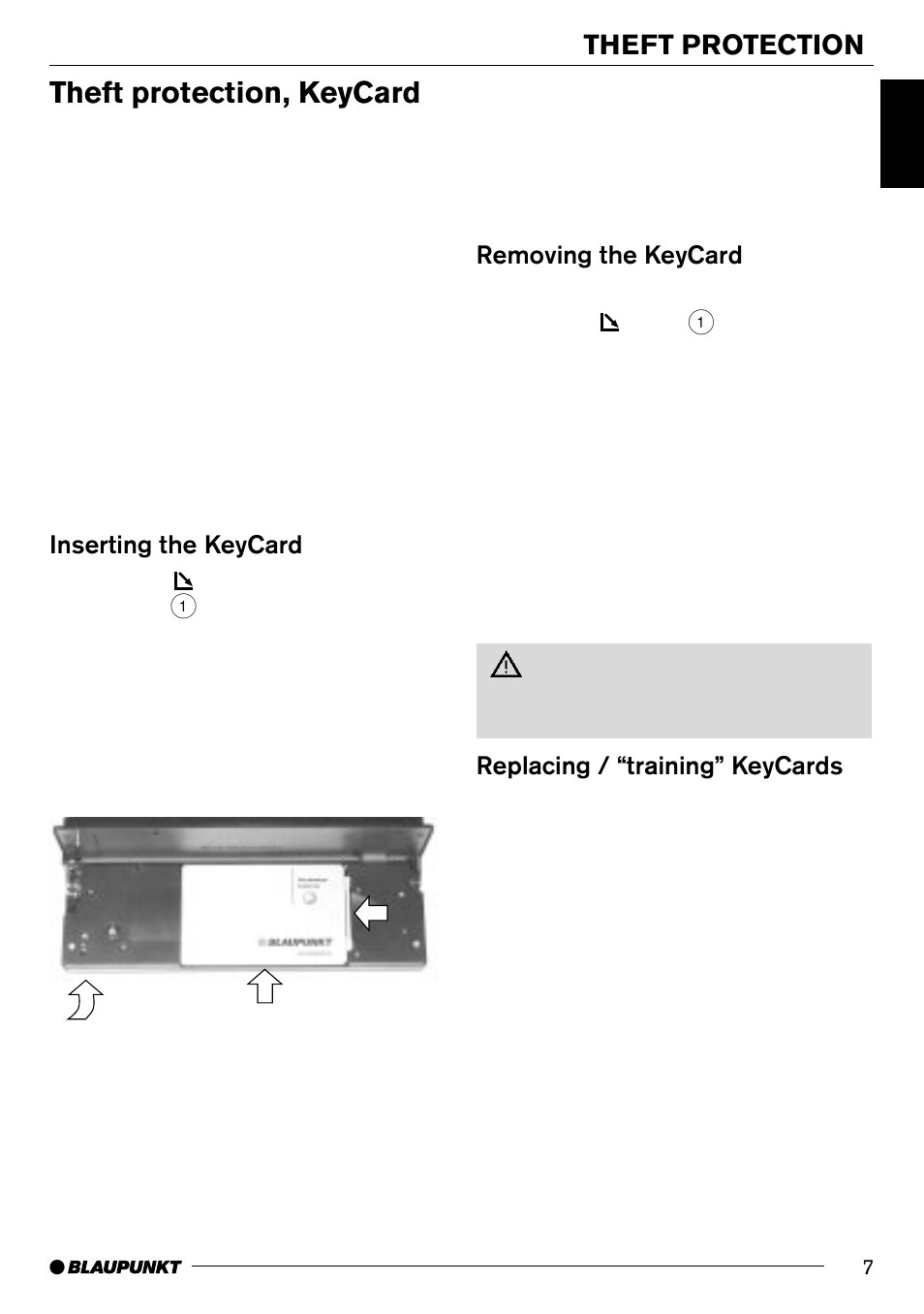 Theft protection, keycard, Theft protection, Removing the keycard | Blaupunkt  SAN FRANCISCO CD70 User Manual | Page 7 / 38