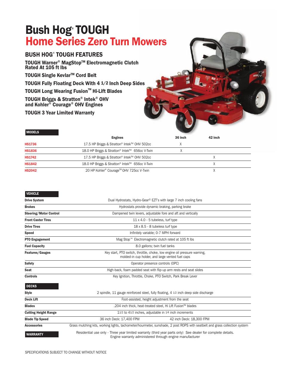 Bush Hog Home Series User Manual