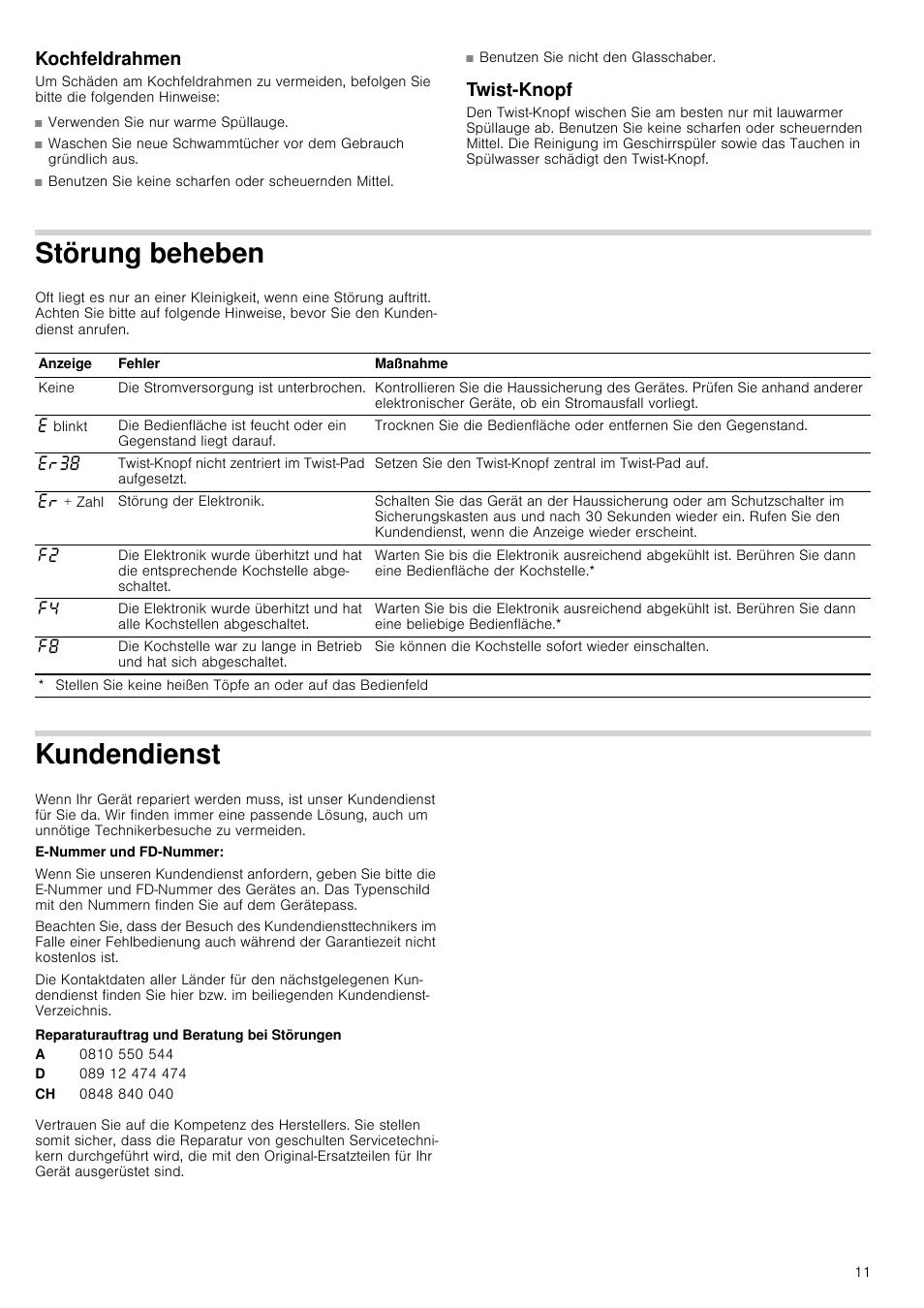 Kochfeldrahmen Twist Knopf Storung Beheben Neff T14t95n2 User