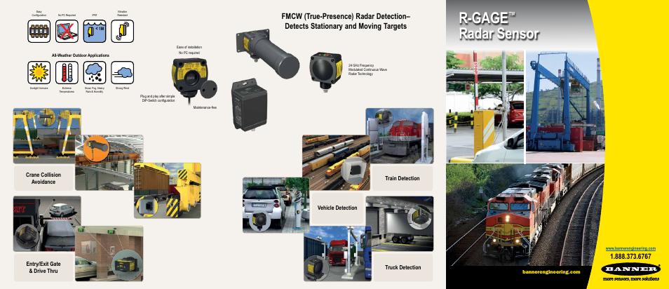 R-gage, Radar sensor | Banner R-Gage QT50R User Manual