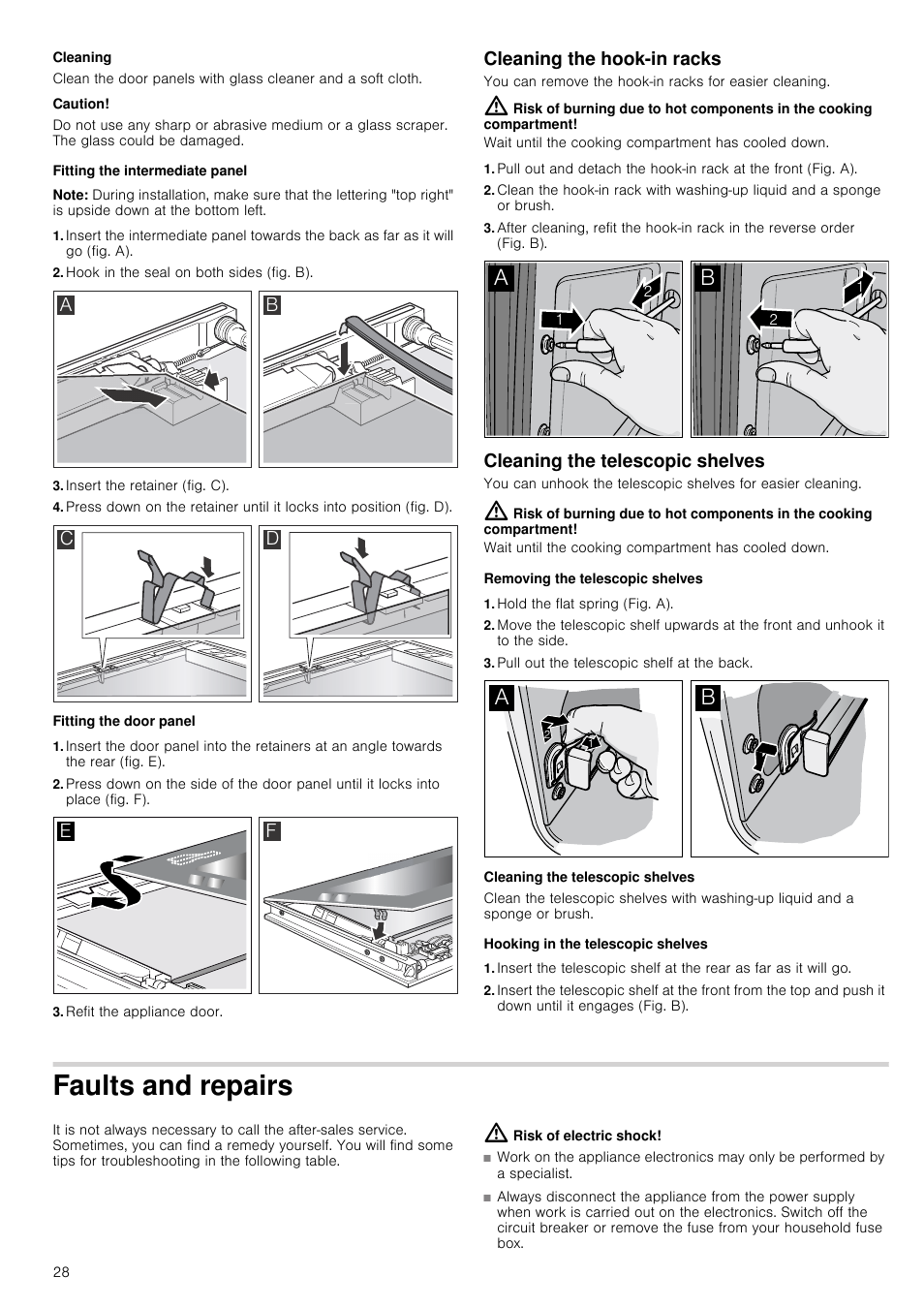 Cleaning Caution Fitting The Intermediate Panel Neff B46e74n3gb Fuse Box Clean User Manual Page 28 32