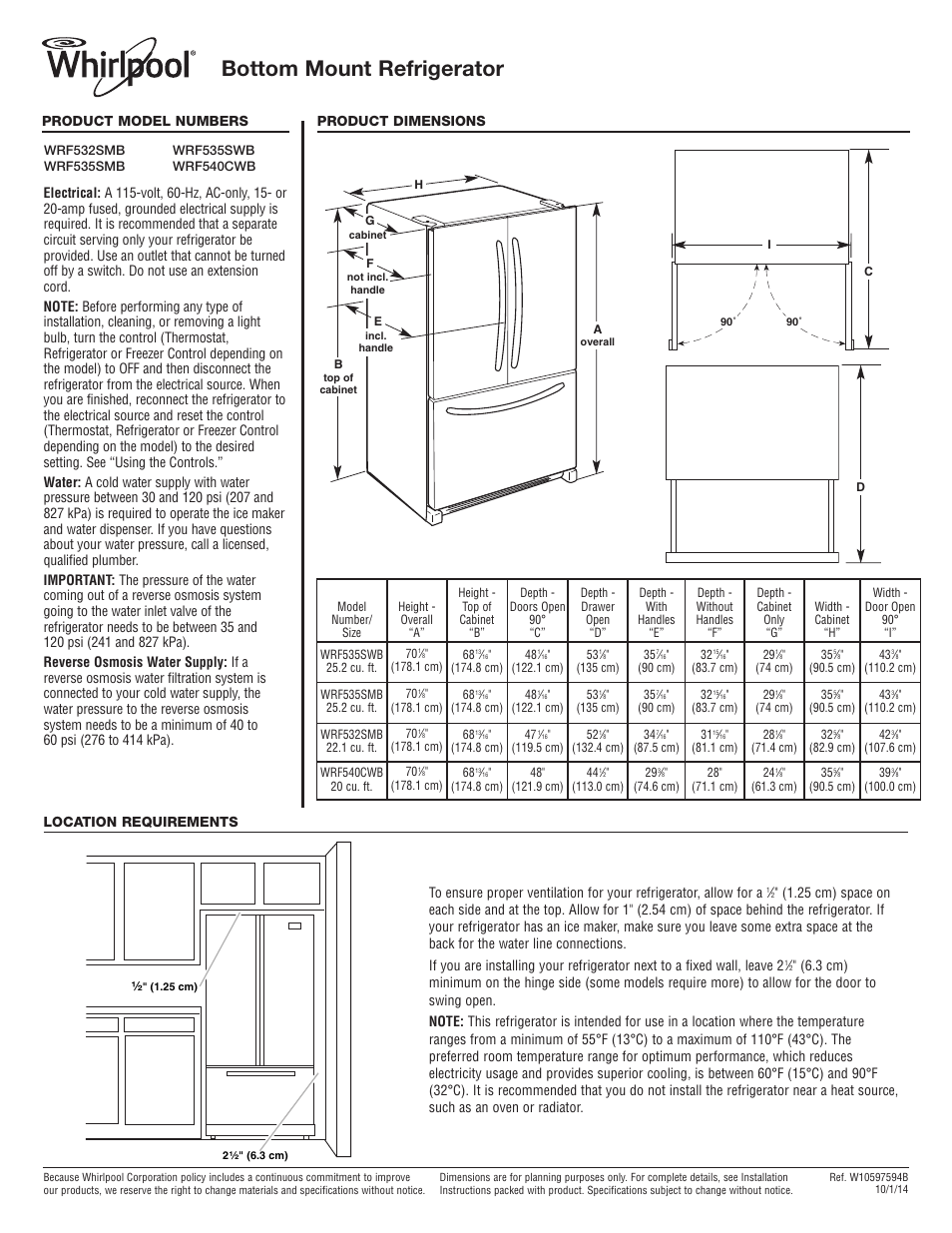 whirlpool wrf535smbm user manual