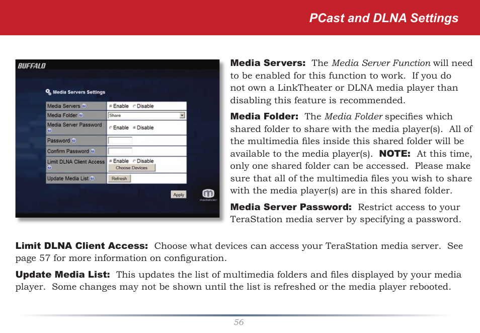 Pcast and dlna settings | Buffalo Technology TeraStation HS
