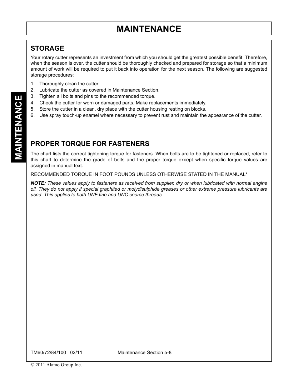 Storage, Thoroughly clean the cutter, Proper torque for fasteners | Blue  Rhino TM72 User Manual | Page 148 / 156