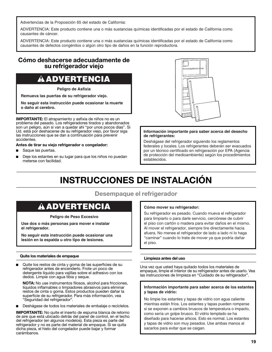 instrucciones de instalaci n advertencia desempaque el rh manualsdir com Mejor Refrigerador Whater Whirlpool Refrigerador Dispenser