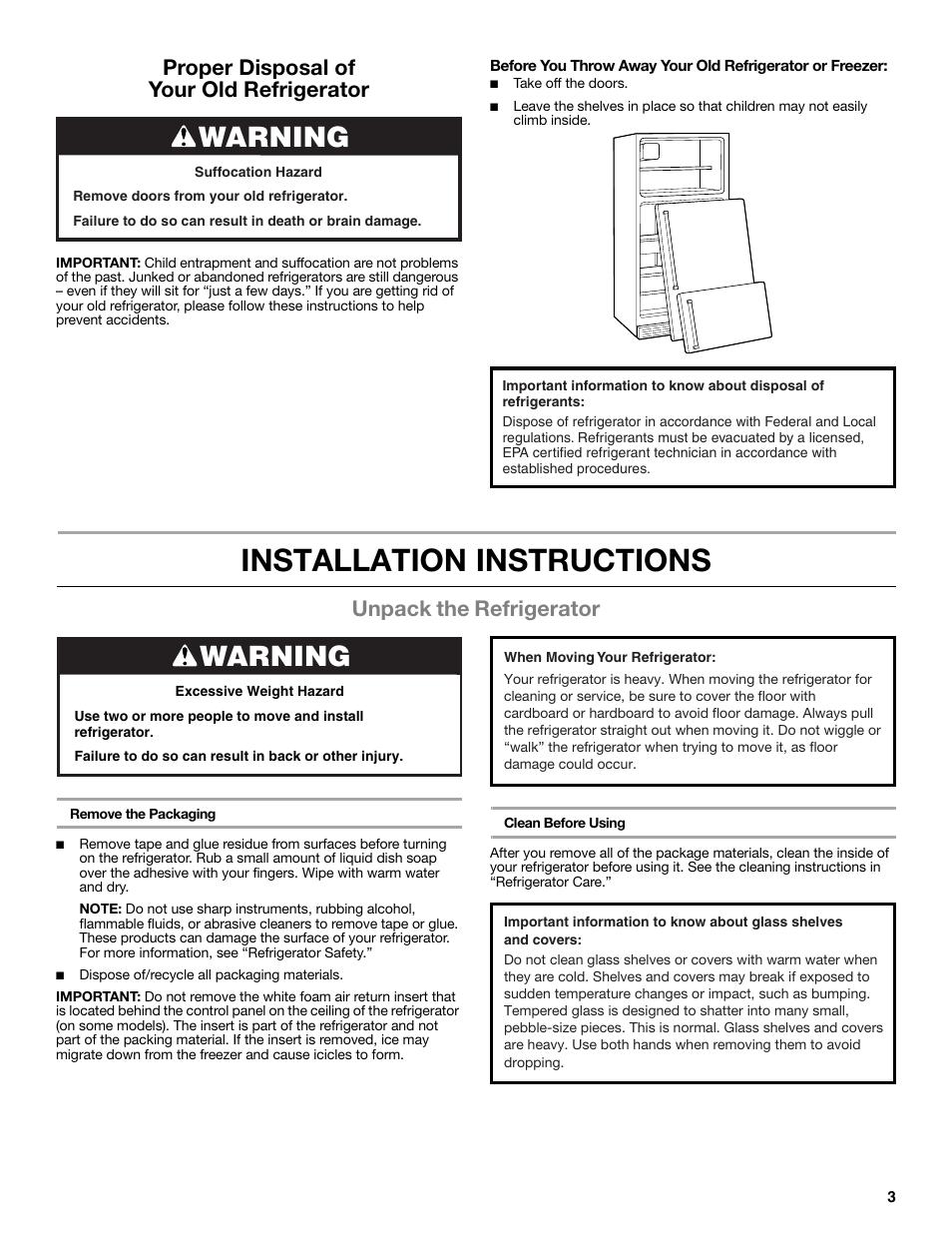 installation instructions warning unpack the refrigerator rh manualsdir com Whirlpool Refrigerator Side by Side whirlpool refrigerator installation instructions