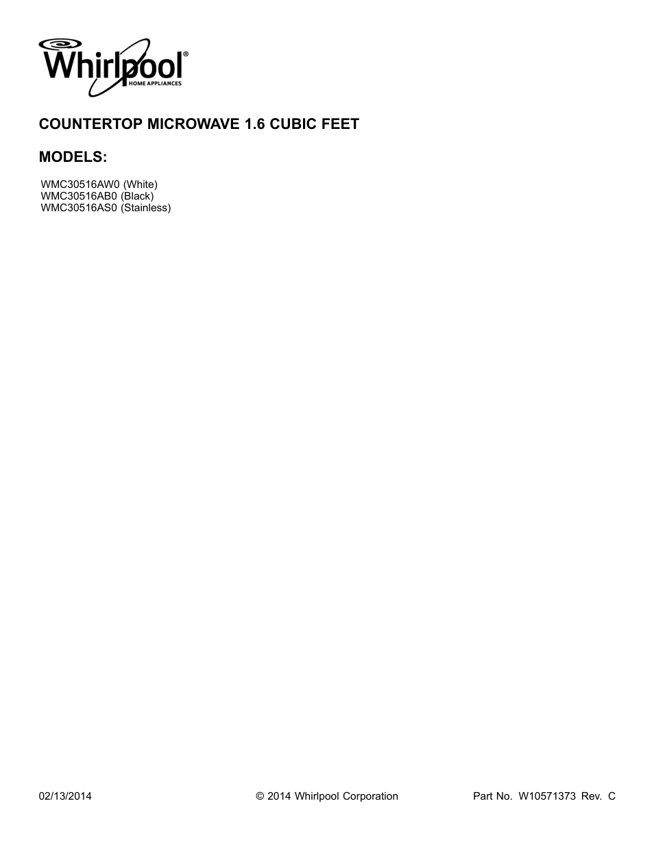 Whirlpool Wmc30516as User Manual 3 Pages
